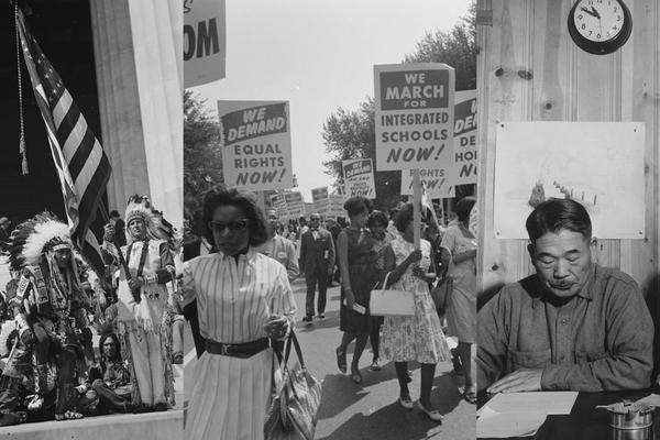 L: Native Americans at U.S. Capitol, C: Civil Rights march on Washington, R: Roy Takano at Manzanar Relocation Center