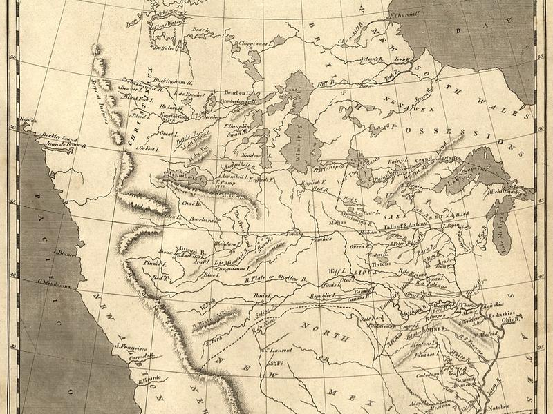 """1804 map of """"Louisiana"""" bounded on the west by the Rocky Mountains"""