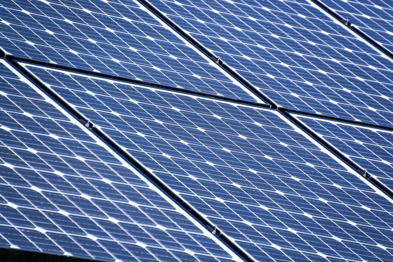 an array of solar panels on a roof