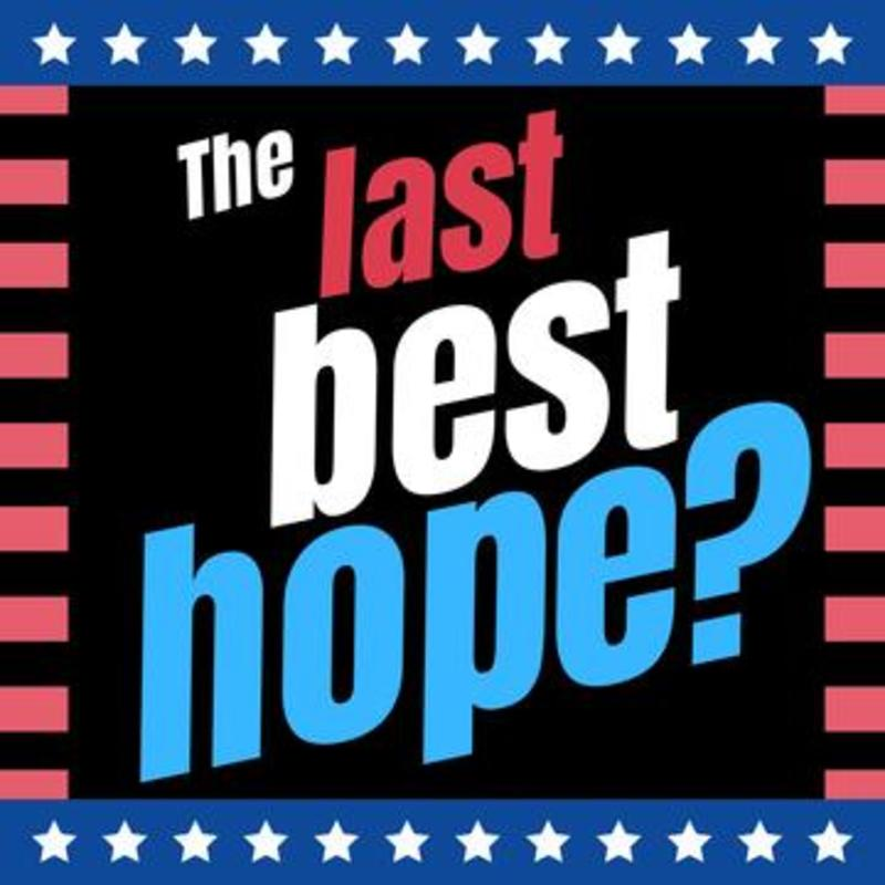 The last best hope logo against a black background, red stripes and blue and white stars