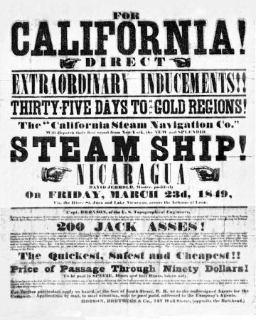 Poster, California gold rush, 1849