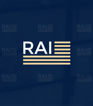 a blue background with white RAI lettering and gold horizontal stripes